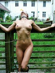 Gagged babe gets most extreme whipped all over outdoor and bridled like a wild horse!
