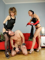 Young Mistresses Alesya and Veronica want to use their slave for sexual games today